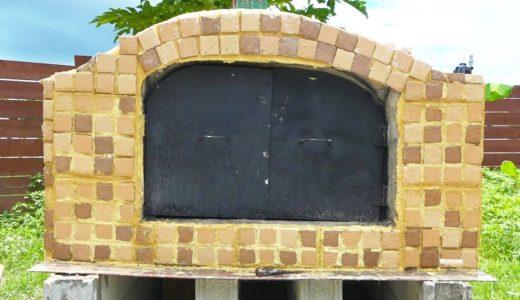 もう少し!巨大ピザ窯の外装にレンガを張り付ける!【DIYピザ釜#14】