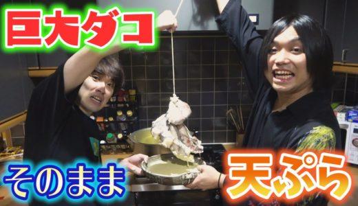 【巨大天ぷら】カノックスターと食べた4kgの巨大タコをそのまま天ぷらにしてみた